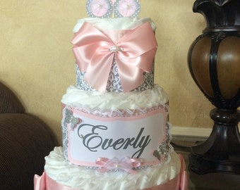 Girl diaper cake/Pink and Grey diaper cake/Carriage topper diaper cake/elegant Girl baby shower centerpiece