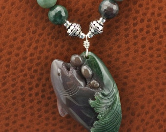 Fancy Agate Carved Shark .925 Silver Necklace