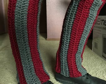Knee High Grey and Red Crochet Leg Warmers