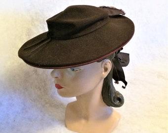 30s 40s Vintage Brown Felt Wide Brim Tilt Hat