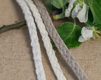 Natural linen cord 6 mm / 3 m = 3.27 yd = 9.84 ft /  3 colours available