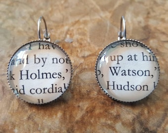 Holmes and Watson book page earrings