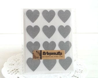 108 Gray heart stickers - 3/4 inch heart stickers - grey hearts envelope seals