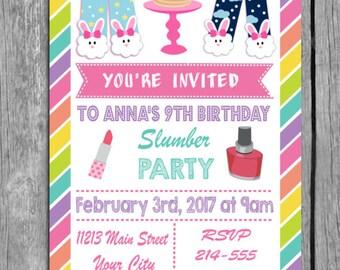 Slumber Party Invitation, Slumber party invites, Slumber party invite, Slumber party, Slumber Party Invitations, slumber party, invitation