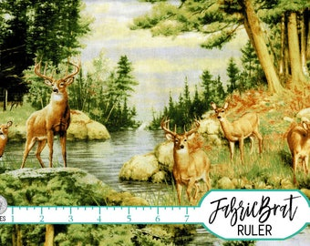 FOREST DEER Fabric by the Yard Fat Quarter WOODLAND Deer Buck Fabric Stream Nature Quilting Fabric 100% Cotton Fabric Apparel Fabric t4-35