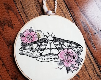 Roses Moth Butterfly embroidered wall decor