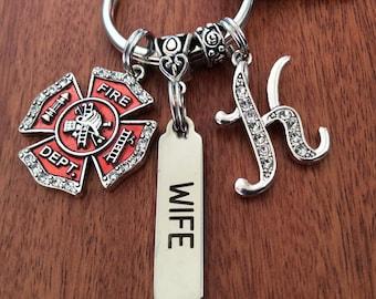 FIREFIGHTER WIFE, Fireman Wife Gift, Firemans Wife Keychain, Fireman Bar Keychain, Fireman Wife Gift Ideas, Fire Wife Gift, Fire Wife Gifts