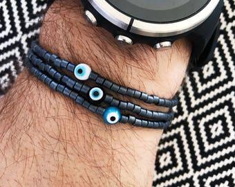 Evil Eye Bracelet - Mens Bracelet - Gunmetal Beaded Bracelet - Stretch Bracelet - Mens Bead Bracelet - Greek Mati Bracelet - Gift for Him