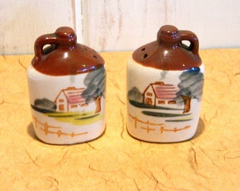 Salt and Pepper Shakers - Antique Jugs  - Made in Japan