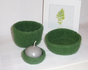 trio of baskets in felted wool forest green