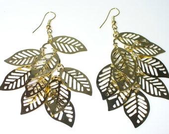 Earrings Golden leaves 8.5 cm