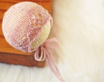 Ready to Ship Newborn Bonnet | Knit Newborn Bonnet | Newborn Photo Prop | Pastel Pink Lace Bonnet | Baby Girl Bonnet