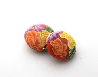 Polymer Clay Beads, Bead Pair, Bright Orange Lentil Beads 724