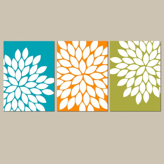 Teal Orange Green Wall Art Bedroom Kitchen Wall Art CANVAS