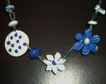 Blue and white necklace with polymer clay