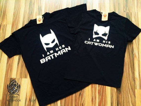 Batman And Catwoman Couples T Shirt Set Tshirt 100 Cotton UNISEX