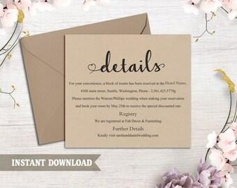DIY Burlap Wedding Details Card Template Download Printable Wedding Editable Rustic Details Card Elegant Heart Details Card Enclosure Card