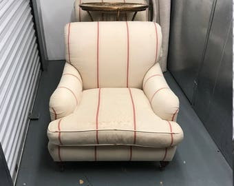 "Pair of Striped Ralph Lauren ""Somerville"" Chairs with Down Cushion"