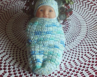 Baby,Infant,Cocoon,Sleep Sack,Shower,Gift,Crocheted,Small Newborn,Large Preemie,Hat,Babies