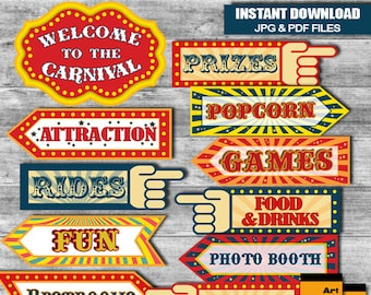 Vintage Circus Carnival Party Signs, Instant Download A3 size JPG & PDF files RP-63