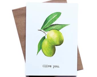 Food Pun Greeting Card for Him Her I Love You Birthday Anniversary Boyfriend Girlfriend Husband Wife Olive You, father's day