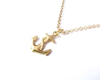 Bridesmaid Gift, Small Anchor Necklace In Gold, Bridesmaid Set Of 4, Delicate Anchor Necklace, Vintage Anchor Necklace, Bridesmaid Jewelry