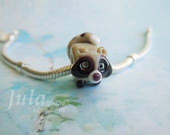 Raccoon pandora bead, Lampwork bead, European charm