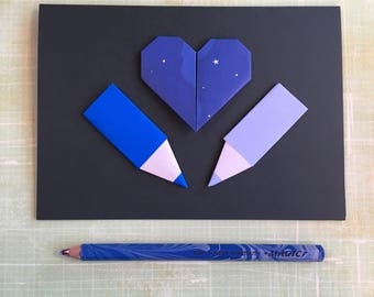 Origami large greeting card - galaxy heart with pencils