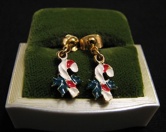 Vintage Gold Tone Enameled Candy Cane Pierced Earrings