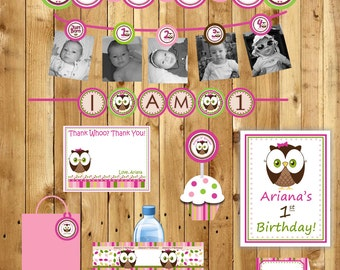 Owl Birthday Party Package Girl or Boy Look Whoos turning 1
