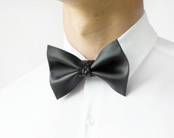 Handmade Modern Elegant Minimalistic Faux Leather Bow Tie, Anniversary Gift, Wedding Bow Tie, Graduation Bow Tie, Men's Bow Tie, Glitter
