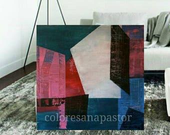 Abstract painting, abstract painting abstract contemporary unequal blocks painting decoration 2017