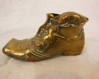 Vintage Brass Boot Shoe, Match-Holder, Paperweight Office Desk Accessory