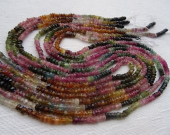 2 to 3 mm Gorgeous Multi Tourmaline Faceted Rondelle Full 13 inch Strand Hand Cut