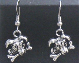 Cute DOG and Bone pierced charm earrings antiqued SILVER tone Metal