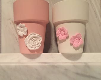 Set of two pink and white succulent pots