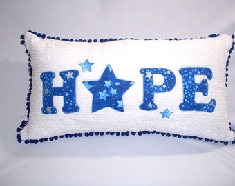 "Kid's ""HOPE"" pillow - made with soft white chenille fabric"