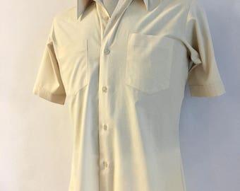 Vintage Mens 80's Cream, Shirt, Short Sleeve by Montgomery Ward (S)