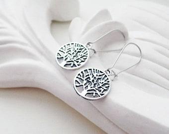 Silver Tree Of Life Earrings   Woodland Earrings   Silver Boho Earrings   Nature Earrings
