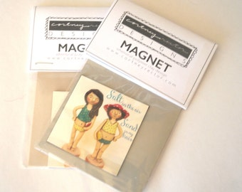 Two Beach Girls Magnet 2x2 inch from original design