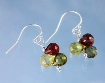 Fall Colors gemstone earrings - olivine green, citrine yellow, carnelian red cubic zirconia on sterling silver - free shipping in USA