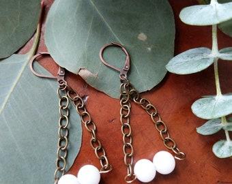 Milk Glass Repurposed Antique Earrings