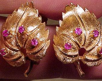 Pair 10k Rose Gold Leaf Earrings Set with Genuine Rubies 1950s