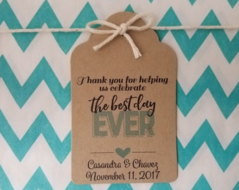 Wedding Gift Tags - Best Day Ever - Bridal Shower Favor Tags - Customizable Personalized - Kraft Brown (WT1803)