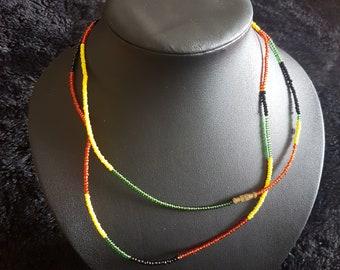 African multicoloured stringed necklace/bracelet