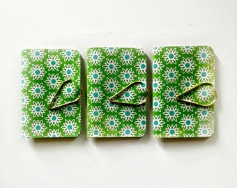 Mini Blank Books {3} Green Floral | Mini Notebooks | Mini Journals | Green Blank Books | Housewarming | Mothers Day Gift | Gift under 5