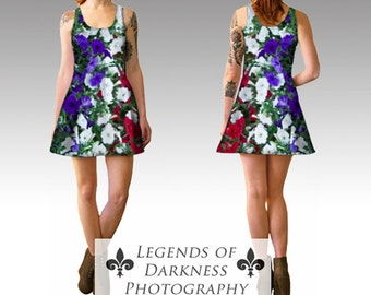 Patriotic Flowers Flared Dress - Red, White & Blue, Americana Fashion, Couture, limited edition Summer Fashion