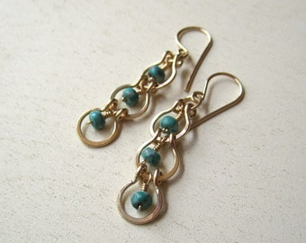 Green jasper light swingy earrings on gold filled findings