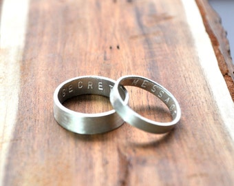 Secret Message Rings. Custom Stamped Sterling Silver Wedding Bands. Personalized. 6mm. 3.7mm. Wedding Ring Set. Wide Flat Rings. Eco.