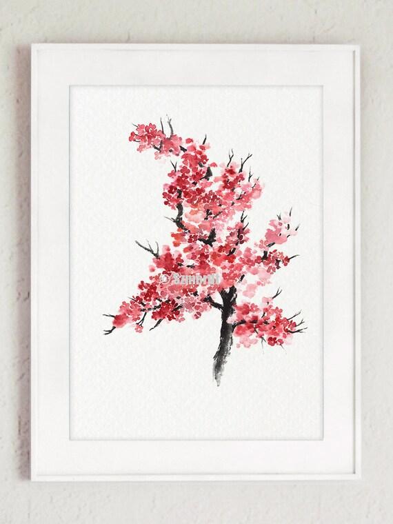 Flor de cerezo japonés Acuarela abstracta de la flor